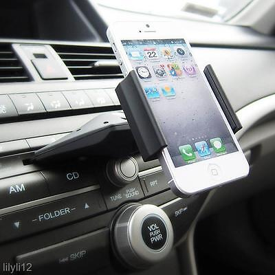 Car Auto CD Slot Mount Cradle Holder Stand For Mobile Smart Cell Phone GPS Black