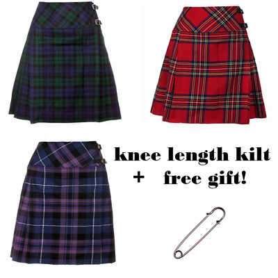 "New Ladies Scottish 20"" Knee Length Kilt Range of Tartans All Size - FREE GIFT"