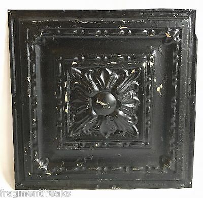 "1890's Reclaimed 12"" x 12"" Antique Tin Ceiling Tile Vintage A11a  Black"