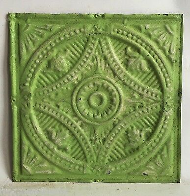 "12"" x 12"" Antique Tin Ceiling Tile Lemon Lime C79a *SEE OUR SALVAGE VIDEOS"