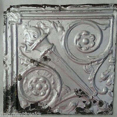 "12"" x 12"" Antique Tin Ceiling Tile *SEE OUR SALVAGE VIDEOS* Vintage AM6 Silver"