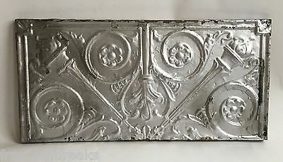 "11""x 23"" Antique Tin Ceiling Tile  Wrapped Anniversary Wall Art Silver B97a"