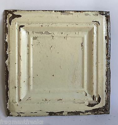 "12"" x 12"" Antique Tin Ceiling Tile Cream C86a *SEE OUR SALVAGE VIDEOS"