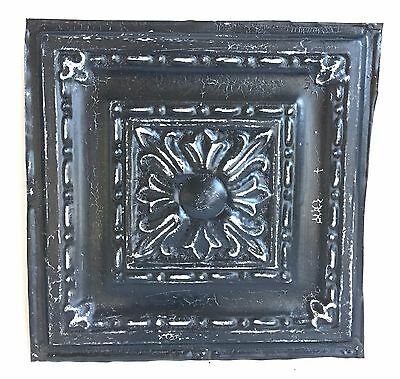 "12"" x 12"" Antique Tin Ceiling Tile Metal 98A  Black *SEE OUR SALVAGE VIDEOS*"