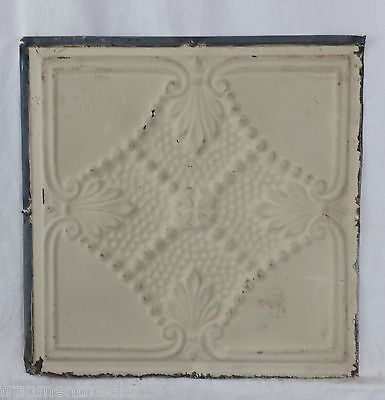 """12"""" x 12"""" Antique Tin Ceiling Tile *SEE OUR SALVAGE VIDEOS* Chic Cream SG19"""