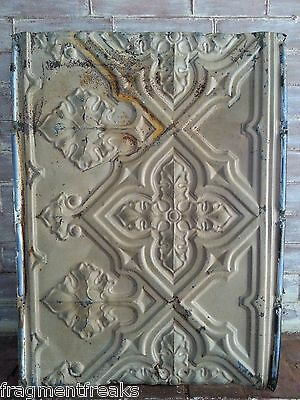 19 x 25 Antique Tin Ceiling Tile Original  Tan Paint Gothic C15