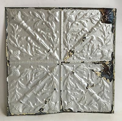 """12"""" x 12"""" Antique Tin Ceiling Tile Vintage C4a  *SEE OUR SALVAGE VIDEOS* Silver"""
