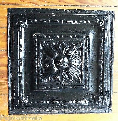 "1890's 12"" x 12"" Antique Tin Ceiling Tile Black TR27 Metal Reclaimed Metal"