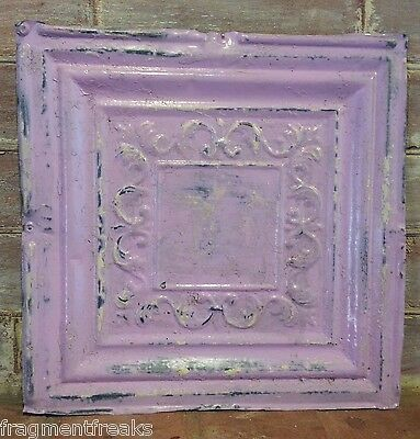"1890's 12"" x 12"" Antique Tin Ceiling Tile RS13 Lavender Reclaimed Metal"