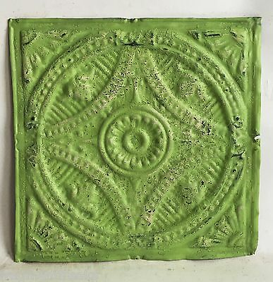 "12"" x 12"" Antique Tin Ceiling Tile Lemon Lime C80a *SEE OUR SALVAGE VIDEOS"