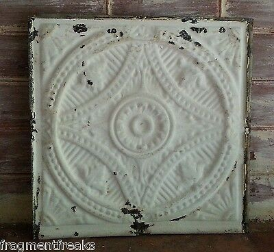 "12"" x 12"" Antique Tin Ceiling Tile *SEE OUR SALVAGE VIDEOS TR13 Ivory Metal"