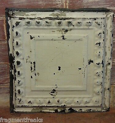 "12"" x 12"" Antique Tin Ceiling Tile Ivory QT3 *SEE OUR SALVAGE VIDEOS*"