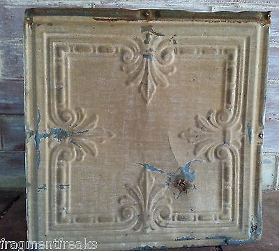 "1890'S 12"" x 12"" Antique Tin Ceiling Tile Brown Reclaimed T6"