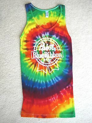 PABST BLUE RIBBON BEER TIE DYE TEE T-SHIRT TANK TOP Medium M FUN & COOL! NEW!