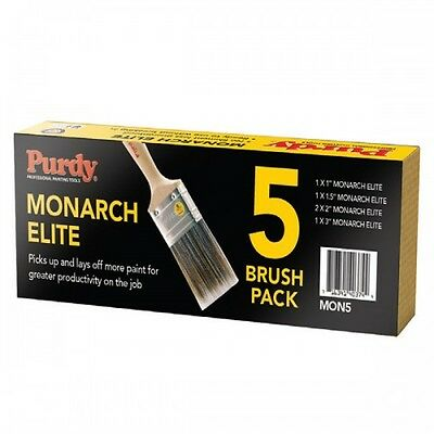 "Purdy XL Monarch Elite Synthetic Bristle Paint Brush Set MON5 1x1"",1.5"", 3"",2x2"""