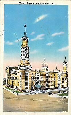IN Indiana Indianapolis Murat Temple Shriners Linen Postcard