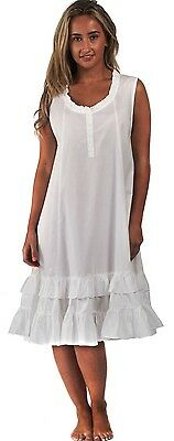 100% Cotton Nightdress Vintage Victorian Nightie 8 10 12 14 16 18 20 22 24 Layla