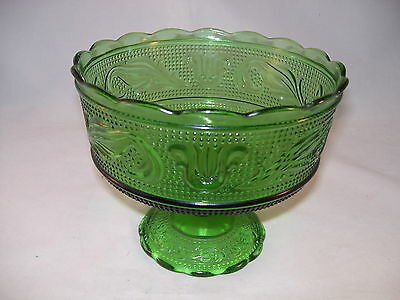 Vintage E.O. Brody Green Glass Pedestal Compote Candy Dish Footed Bowl USA