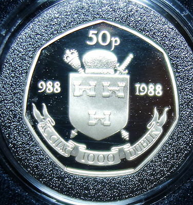 Ireland  :dublin  Proof Fifty Pence Coin 1988. With Cert.. Dublin 988 - 1988.