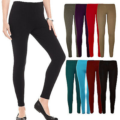 Ladies Stretch Full Ankle Length Leggings Elasticated Black Pink 10 12 14 16 18