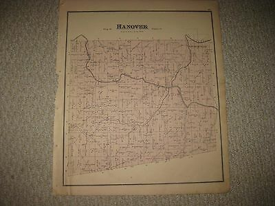 Antique 1874 Hanover Township Loudonville Ashland County Ohio Handcolored Map Nr