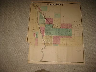 Huge Antique 1874 Loudonville Ashland County Ohio Handcolored Map Rare Detailed