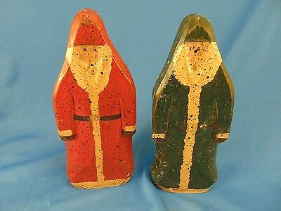 Pair wooden Santa figurines hand crafted & painted Old World Style Primitive Art