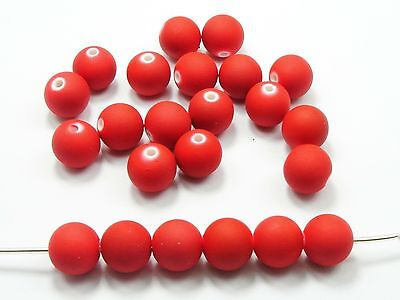 """200 Matte Neon Red Color Acrylic Round Beads 8mm(0.32"""") Rubber Tone"""