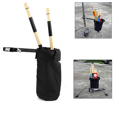 Drumsticks Holder Bag Nylon Clip On Stand Drum Percussion Sticks Case New