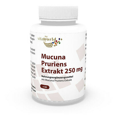 Vita World Juckbohne Extrakt 250mg 120 Kapseln - Mucuna Pruriens Made in Germany