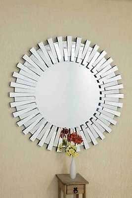 Modern Unique 3D Sunburst All Glass Venetian Round Wall Mirror 4Ft Or 120cm New