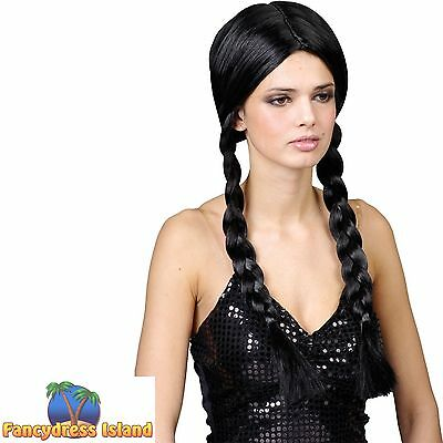 SCHOOL GIRL BLACK PLAITED PLAITS WIG WEDNESDAY ADDAMS ladies Fancy Dress costume