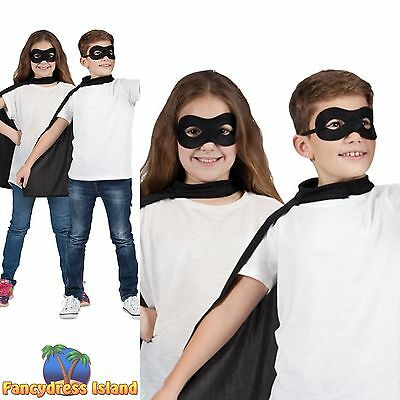 BLACK KIDS SUPER HERO SHORT CAPE WITH MASK boys girls childs fancy dress costume