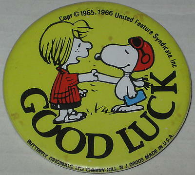 "1970's Peppermint Patty & Flying Ace Snoopy ""Good Luck"" Pin 2.25"""