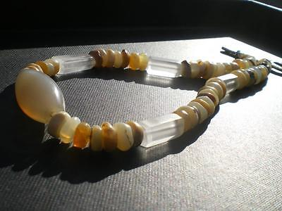 """The Milky Way"" !! White Opal, Agate & Cristal Brasilian Necklace"