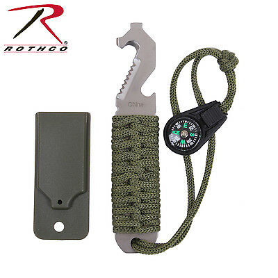 EDC Tool Paracord Survival Tool Stainless Steel w/ Compass Pry Tool Belt Cutter