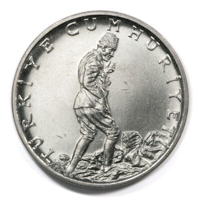 1960 Stainless Steel 2 1/2 Lira Coin from Turkey in Uncirculated Condition. KM#