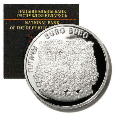 2010 20 Roubles Dual Owls Proof Silver Coin from Belarus