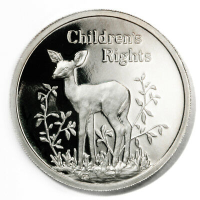 Zambia Children's Rights Fawn 500 Kwacha 1994  Proof Silver Crown KM48