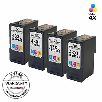 4pk 18Y0143 43XL 43 XL High Yield Color Printer Ink Cartridge for Lexmark