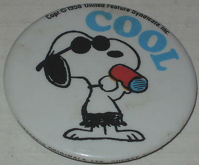 "1970's Snoopy Joe Cool ""Cool"" Pin 2.25"""