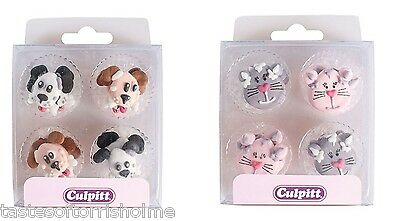 12 Culpitt Edible Cats Or Dog Cupcake, Cake Decorations Edible Sugar Toppers