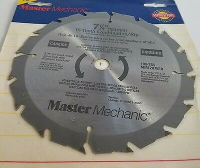 "Master Mechanic, Carbide, 7 1/4"", 16 Tooth Combination/rip (Lp086)"
