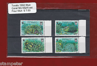 1992 Thematic Fish - Blue Coral SG 652/5 Set of 4 MUH