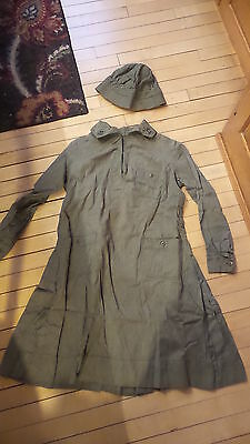 Antique OFFICIAL GIRL SCOUT UNIFORM HAT & DRESS Long Sleeve Green Chambray
