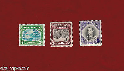 1938 Cook Island SG 128/45 Set of 3 MLH