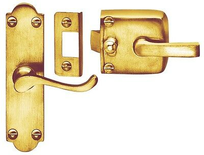 Polished Brass Screen Door Latch Assembly Right Hand
