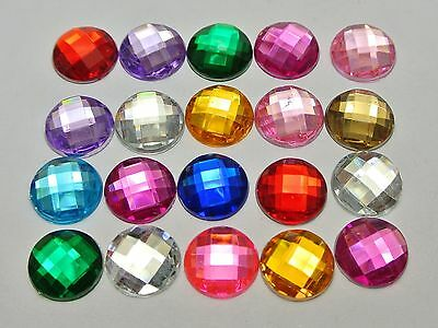 200 Mixed Color Acrylic Flatback Rhinestone Faceted Round Gems 12mm No Hole