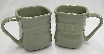 Longaberger Woven Traditions Sage Green Lot of 2 Square Mugs Made in USA