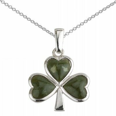 New Silver Connemara Marble Celtic Shamrock Necklace Celtic Jewellery Gift Boxed